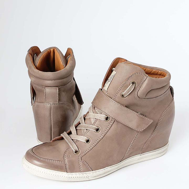 paul green keil sneaker braun beige mid cut wedge style. Black Bedroom Furniture Sets. Home Design Ideas