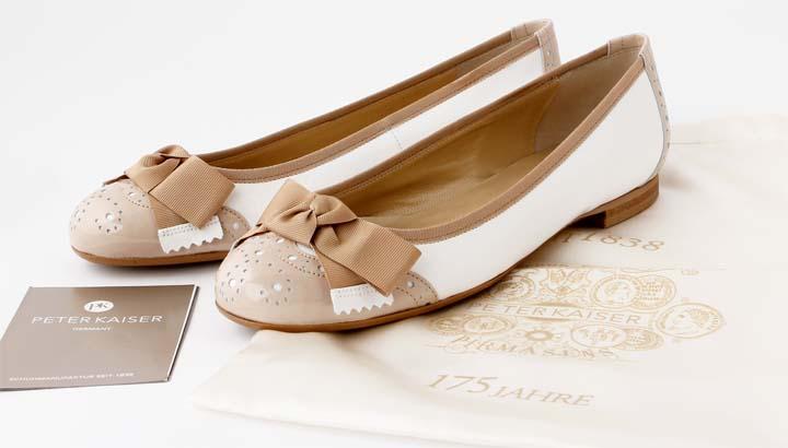 neu peter kaiser idira ballerina weiss beige lackleder. Black Bedroom Furniture Sets. Home Design Ideas