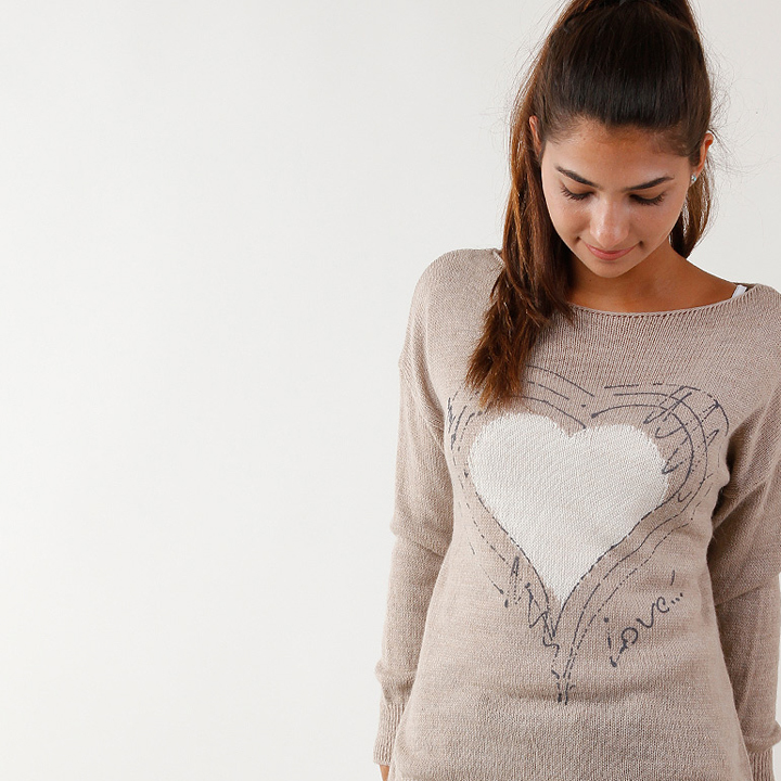 UTS Accessoires Strickpullover Love Beige