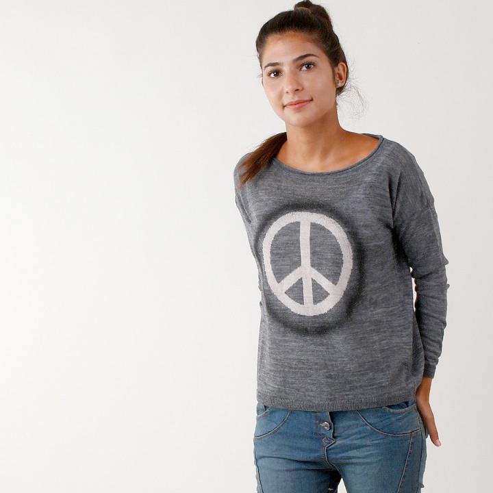 UTS Accessoires Strickpullover Peace Grau